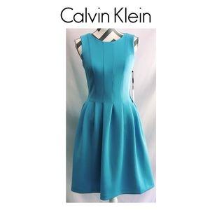 NWT Calvin Klein Sky Blue Fit & Flair Dress-$124